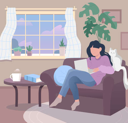 Freelancer work illustrations in flat vector and comfortable environment