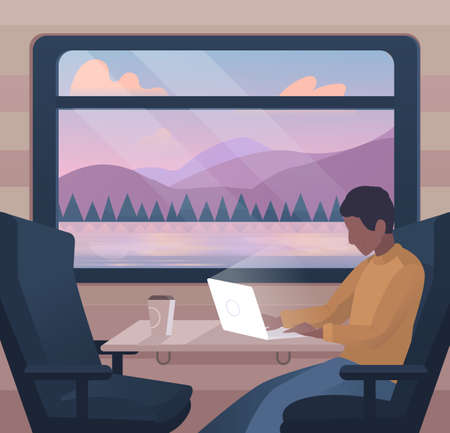 Freelancer work illustrations in flat vector and working on a project