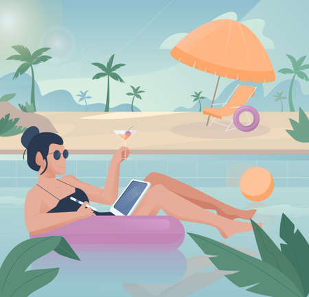 Freelancer work illustrations in flat vector and relaxing in the pool at the same time Ilustracja