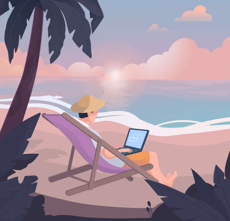 Freelancer work illustrations in flat vector and relaxing on the tropic island at the same time