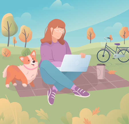 Freelancer work illustrations in flat vector, young woman working in the park while walking her cute pet