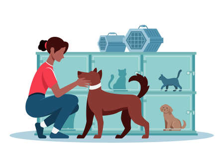 Vector illustration a cute dog from of animal shelter