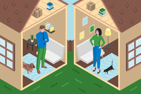 Colourful flat vector illustration shows of divorce
