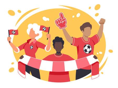 Colourful flat vector illustration of sports fans Ilustracja