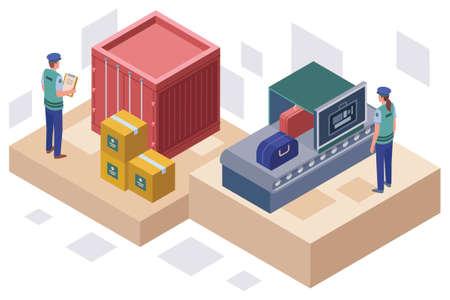 Colourful isometric vector illustration of customs authority