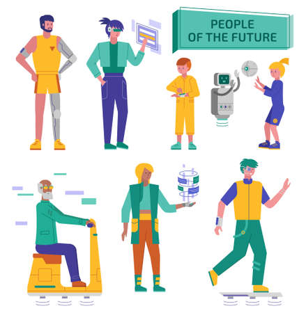 The futuristic humans vector illustrations a colorful set Ilustracja