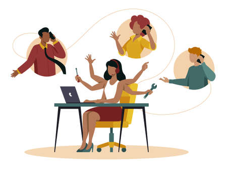 Call center illustration shows in flat vector