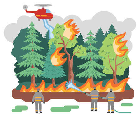 Fire in forest flat vector illustration, trees engulfed in flames