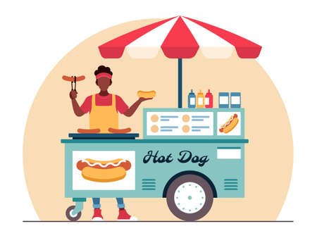 Street food illustration in flat vector and sells delicious hot dogs