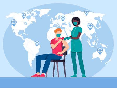 virus vaccination  illustration in flat vector Ilustracja