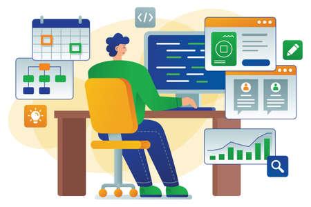 Developer flat vector illustration shows a developer - software Ilustracja