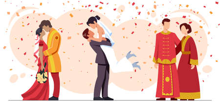 Colourful flat illustration of newlyweds and in love from different cultures of the world