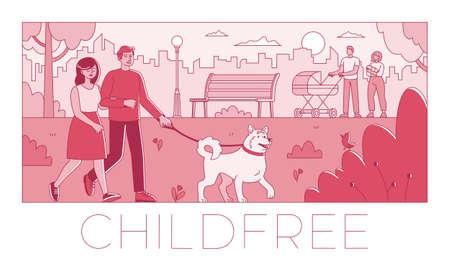 Voluntary childlessness flat vector illustration not to have children Ilustracja