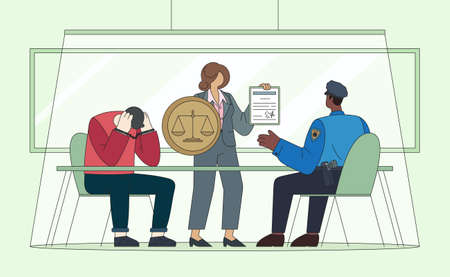 Protection attorney flat vector illustration at a police station