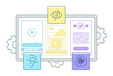 Digital accessibility flat vector illustration and understood users