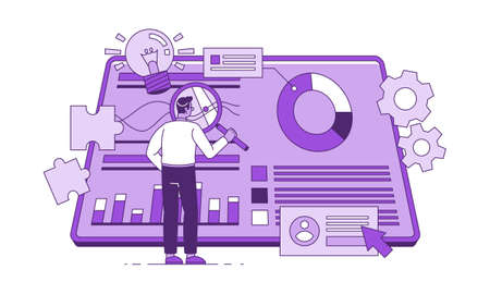 R D project manager flat vector illustration