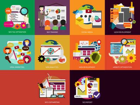 social web: SEO and Development Illustration