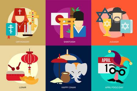 Religion and Celebrations 向量圖像