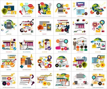 mobile marketing: SEO and Development Illustration