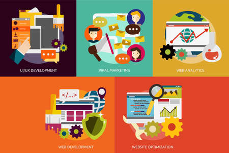 marketing online: SEO and Development Illustration