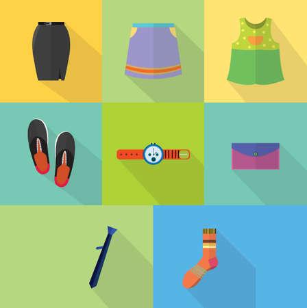 Kleding en accessoires Stock Illustratie
