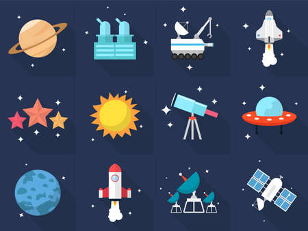 satellite launch: Space Icons Illustration