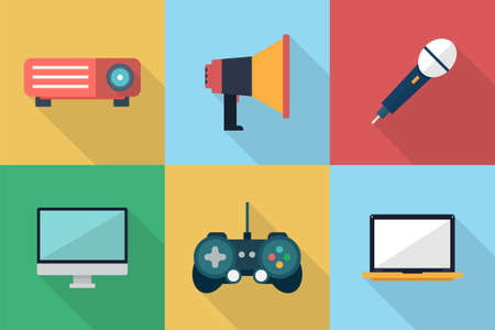 multimedia: Multimedia Icons Illustration