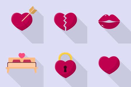 romance bed: Valentine Icons