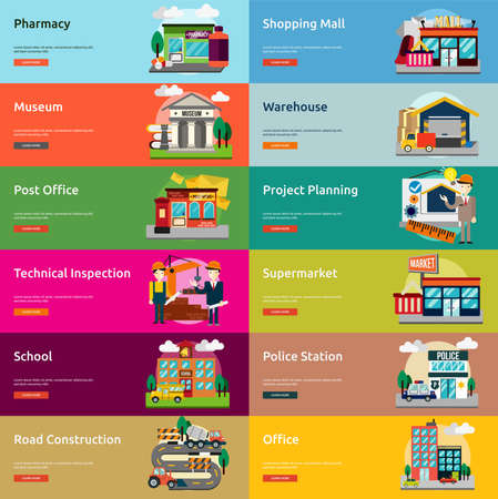 shopping mall: Building and Construction Banner Set
