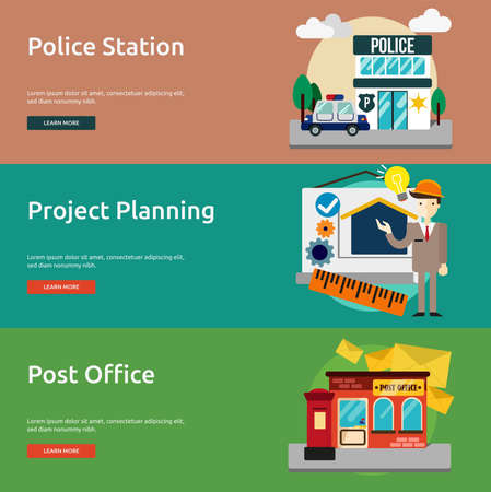 post office building: Building and Construction Banner Set