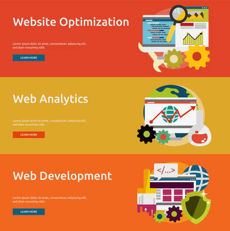 icons site search: SEO and Development Illustration