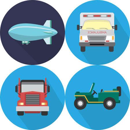 blimp: Transportation Icons Set Illustration