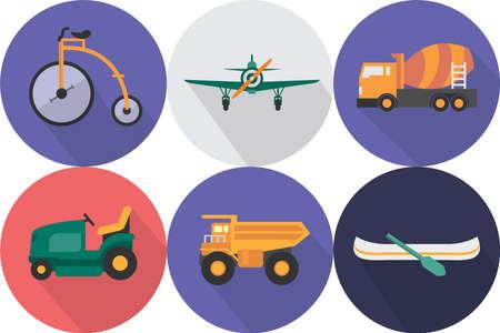 lifeboat: Transportation Icons Set Illustration