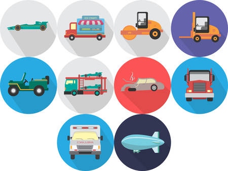 compactor: Transportation Icons Set Illustration