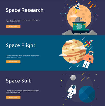 Space and Universe Banner Set Illustration
