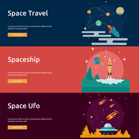 astrophysics: Space and Universe Banner Set Illustration