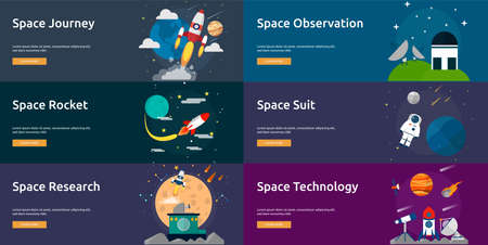 flat earth: Space and Universe Banner Set Illustration