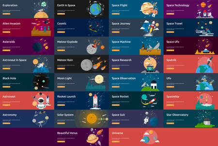 Space and Universe Banner Set Stock Illustratie