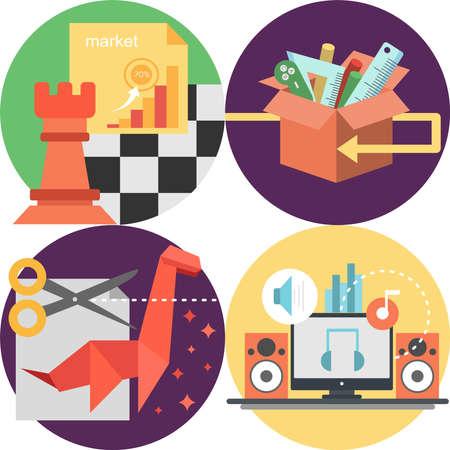 interface scheme: Creative Process Icons Set
