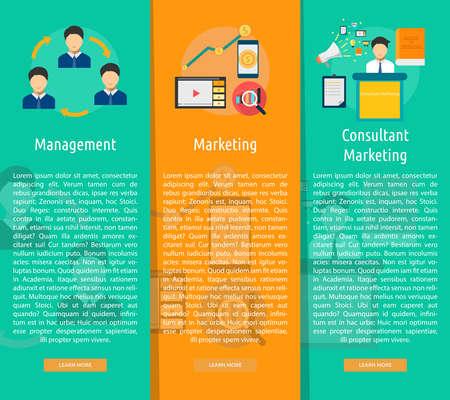 Marketing e Management Vertical Banner Concetto Archivio Fotografico - 59165032