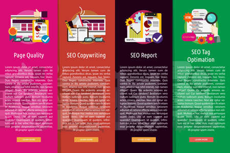 SEO and Development Vertical Banner Concept Иллюстрация