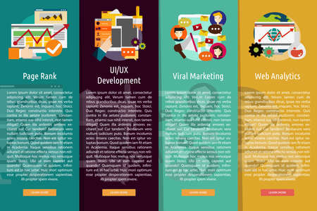 page rank: SEO and Development Vertical Banner Concept Illustration