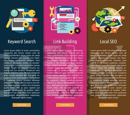 keywords link: SEO and Development Vertical Banner Concept Illustration