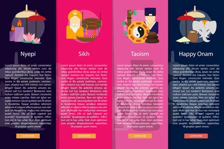 vertical banner: Religion and Celebrations Vertical Banner Concept Illustration