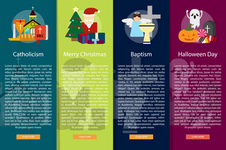 catholicism: Religion and Celebrations Vertical Banner Concept Illustration