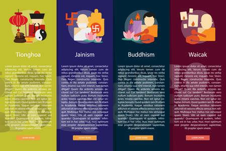 jainism: Religion and Celebrations Vertical Banner Concept Illustration