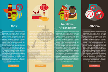 atheism: Religion and Celebrations Vertical Banner Concept Illustration