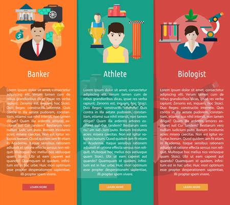 Human Profession Vertical Banner Concept Ilustração