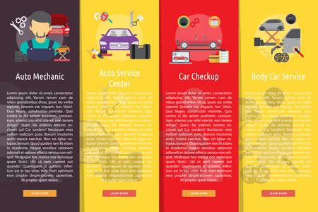 disk break: Mechanic and Car Repair Vertical Banner Concept