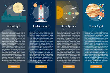 Space and Universe Vertical Banner Concept Illustration